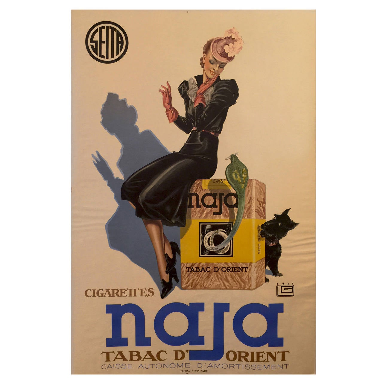 Art Deco Posters: French Art Deco Period Advertisement Poster For Naja By