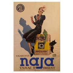 French Art Deco Period Advertisement Poster for Naja by Lelong, 1939