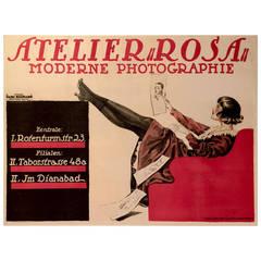 Austrian Art Nouveau Period Photography Studio Poster by Hans Neumann, 1919