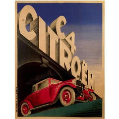 Art Deco Period French Advertising Poster for Citroen, 1928