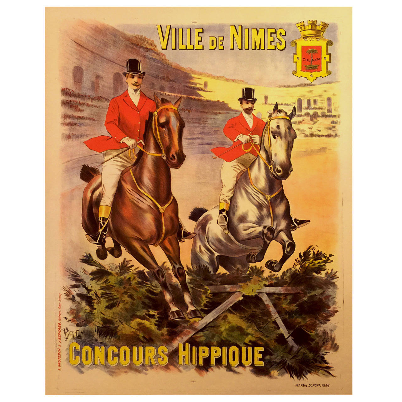 French Belle Époque Period Poster for a Horse Show in Nîmes, 1914