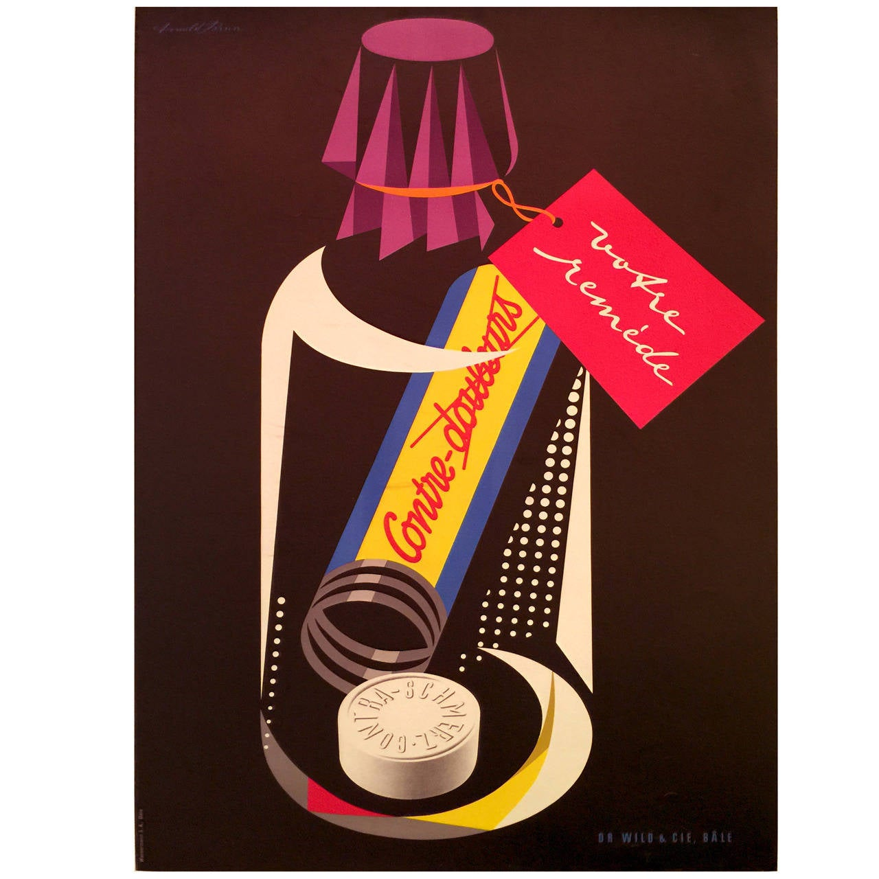 Swiss Mid-Century Modern Period Poster for Contre Douleurs by Donald Brun, 1950