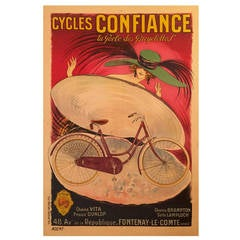 French Art Nouveau Period Advertising Poster for Cycles Confiance