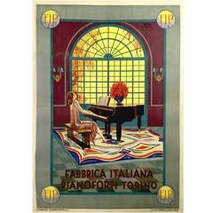 Italian Art Nouveau Period Poster for Fabric Italiana Pianoforte