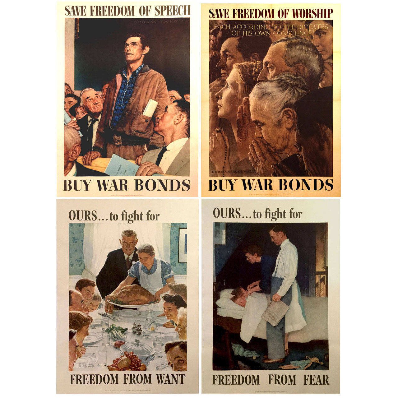 Complete Set of Four Freedoms Posters by Norman Rockwell, 1943 For ...