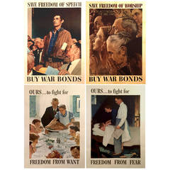 Complete Set of Four Freedoms Posters by Norman Rockwell, 1943