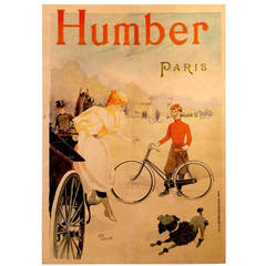 Belle Epoque Period French Poster for Humber Bicycles, Paris