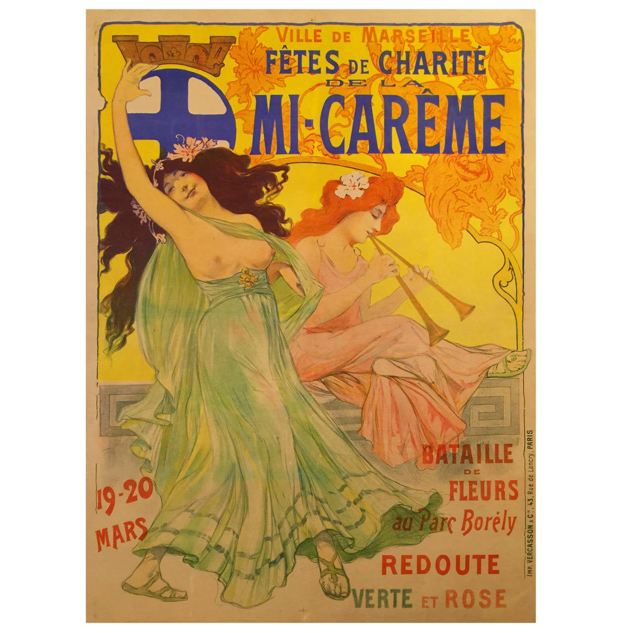 Rare Art Nouveau Period French Advertising Poster for a Festival in Marseille