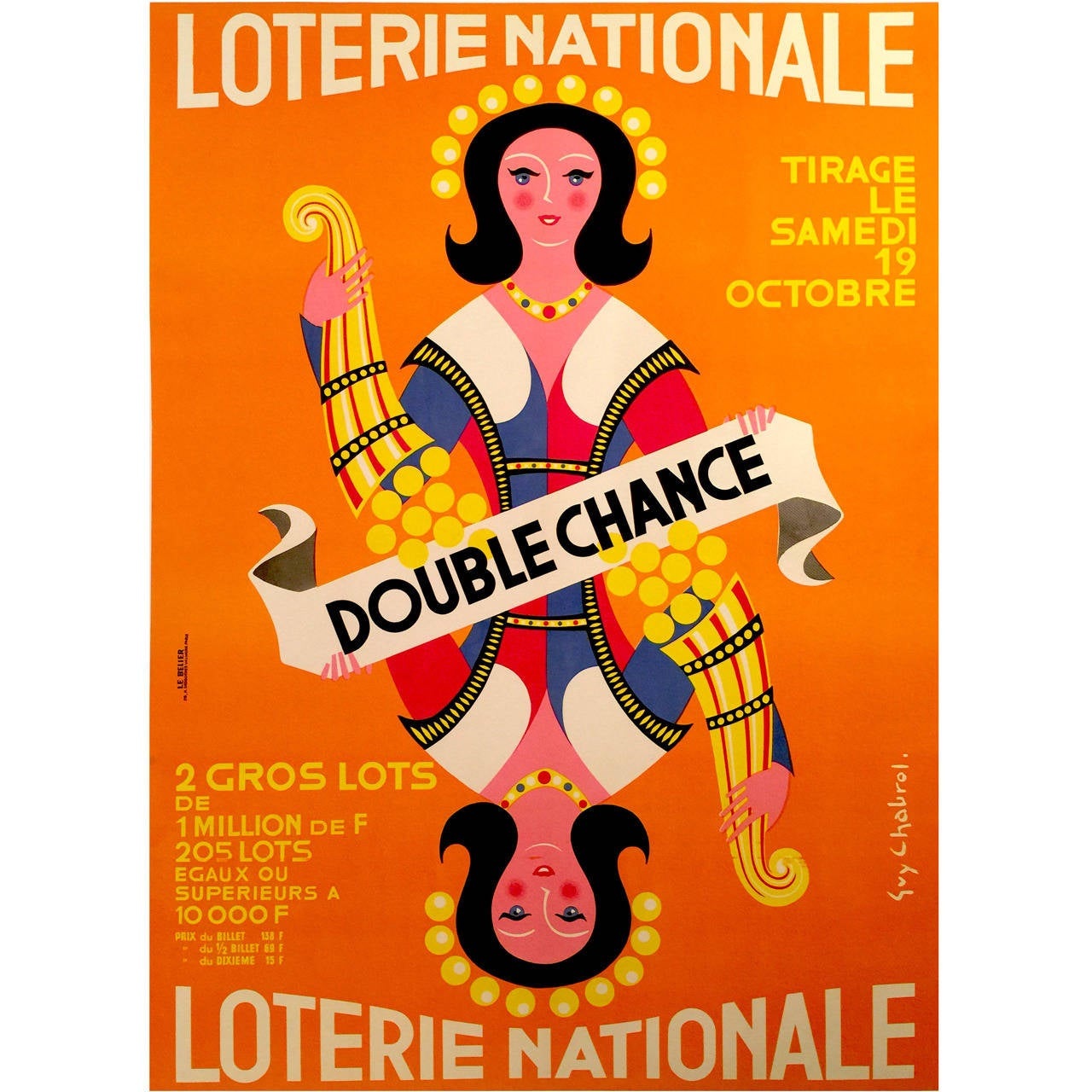 French Mid-Century Modern Poster for Loterie Nationale by Guy Chabrol, 1963