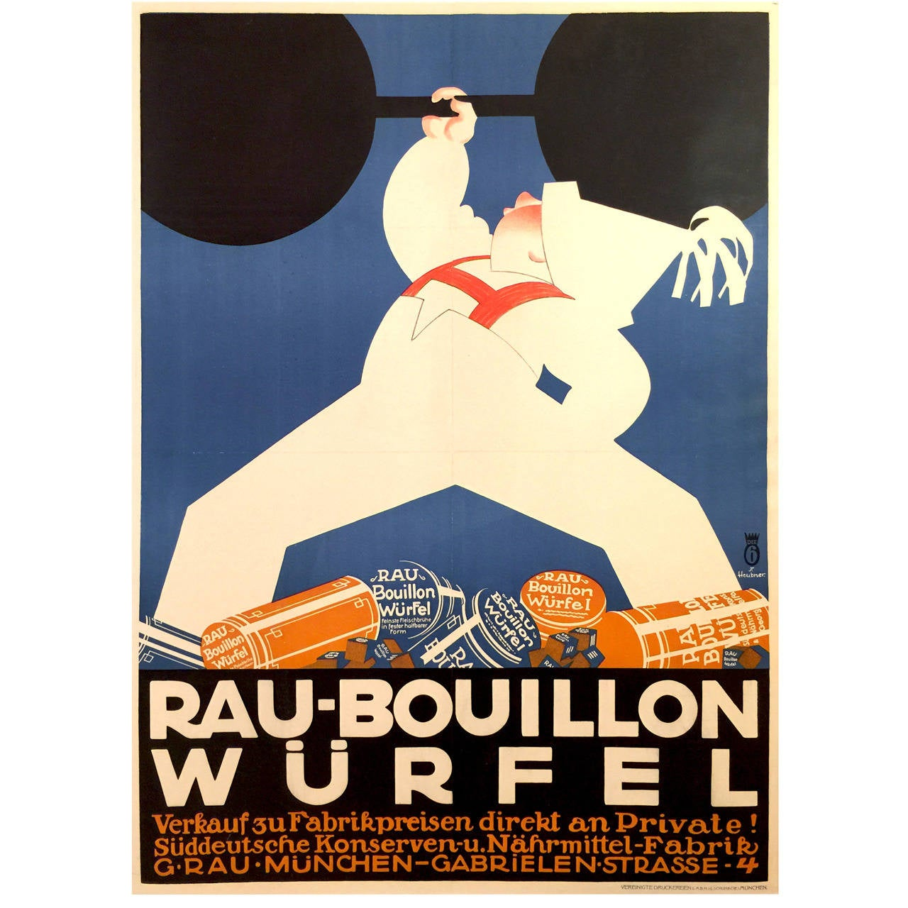German Art Deco Poster for Rau-Bouillon Wurfel, 1930