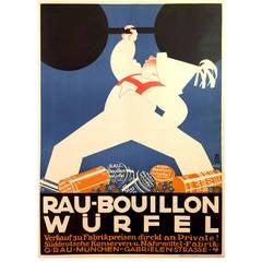 German Art Deco Poster for Rau-Bouillon Wurfel, 1930