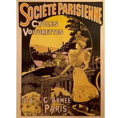 Rare French Art Nouveau Period Advertisement for Société Parisienne, 1890