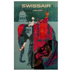 Swiss Mid-Century Modern Period Travel Poster to India by Donald Brun