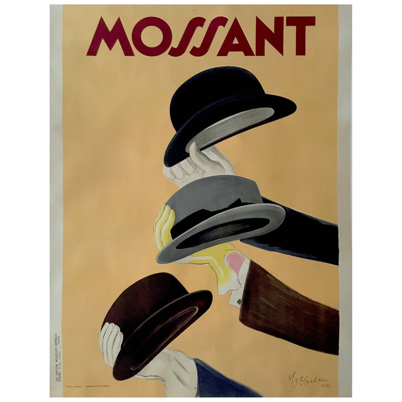 "French Art Deco Period ""Mossant"" Advertising Poster by Leonetto Cappiello, 1938"