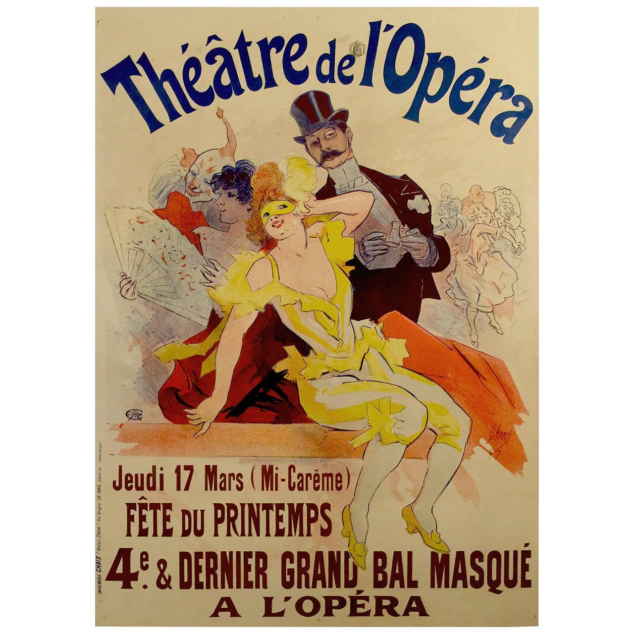 French Belle Époque Period Poster for Théâtre de l'Opera by Jules Cheret 1897