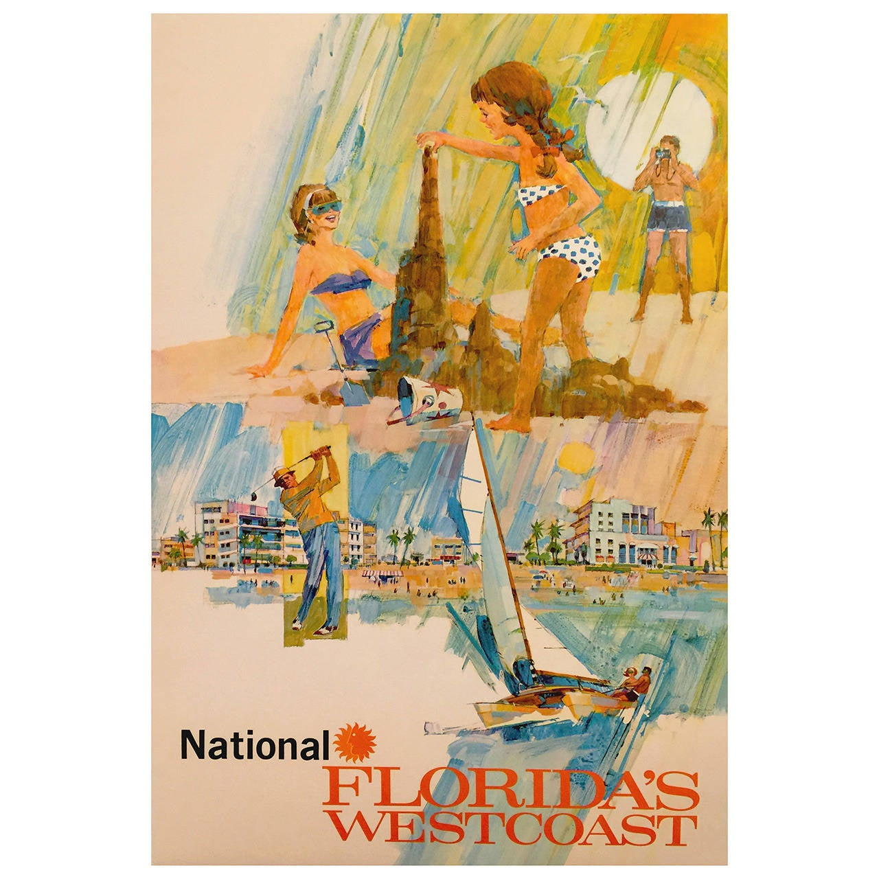 Mid-Century Modern Period National Airlines Florida's West Coast Travel  Poster 1