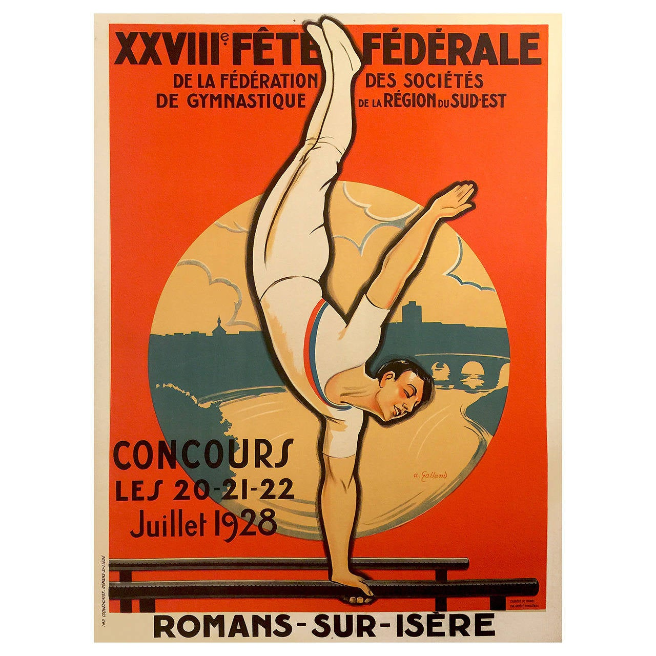 deco period advertising poster for a gymnastics competition 1928 for sale at 1stdibs