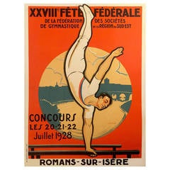 French Art Deco Period Advertising Poster for a Gymnastics Competition, 1928