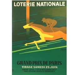 French Mid-Century Modern Period Poster for Loterie Nationale Grand Prix, 1966