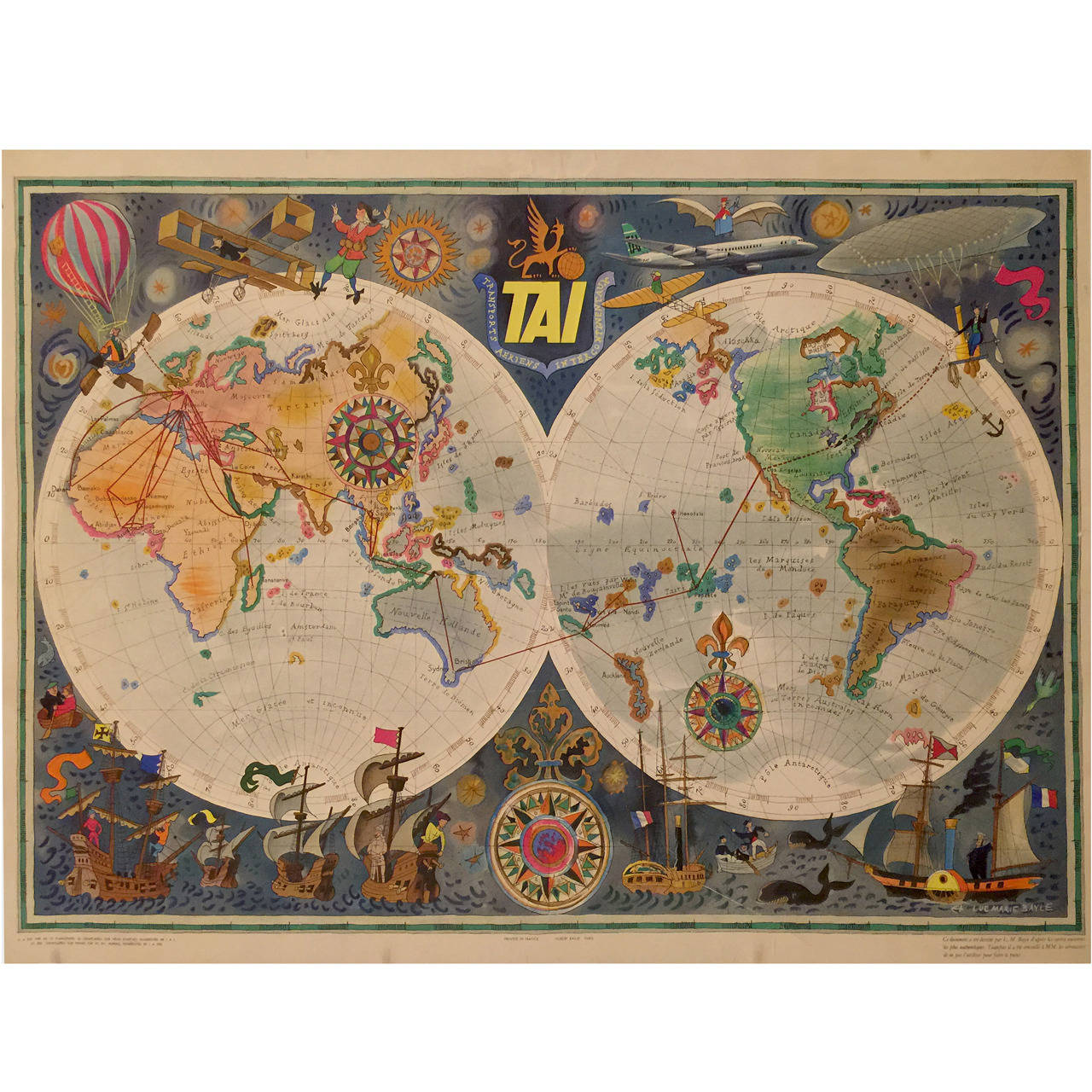 French mid century modern period tai world map by luc for Mid modern period
