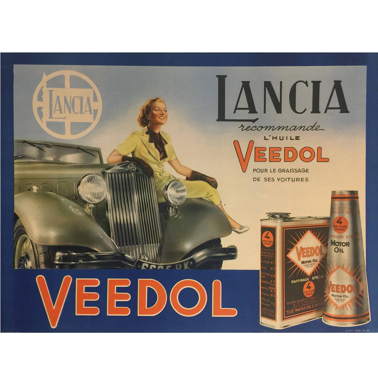 French Art Deco Period Advertising Poster for Veedol Motor Oil, 1936