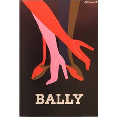 French Modern Period Advertisement for Bally Shoes by Villemot, 1979