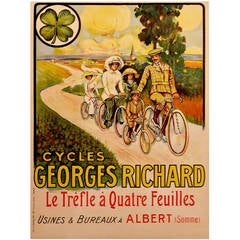 French Belle Époque Period Advertising Poster for Georges Richard Cycles, 1890s