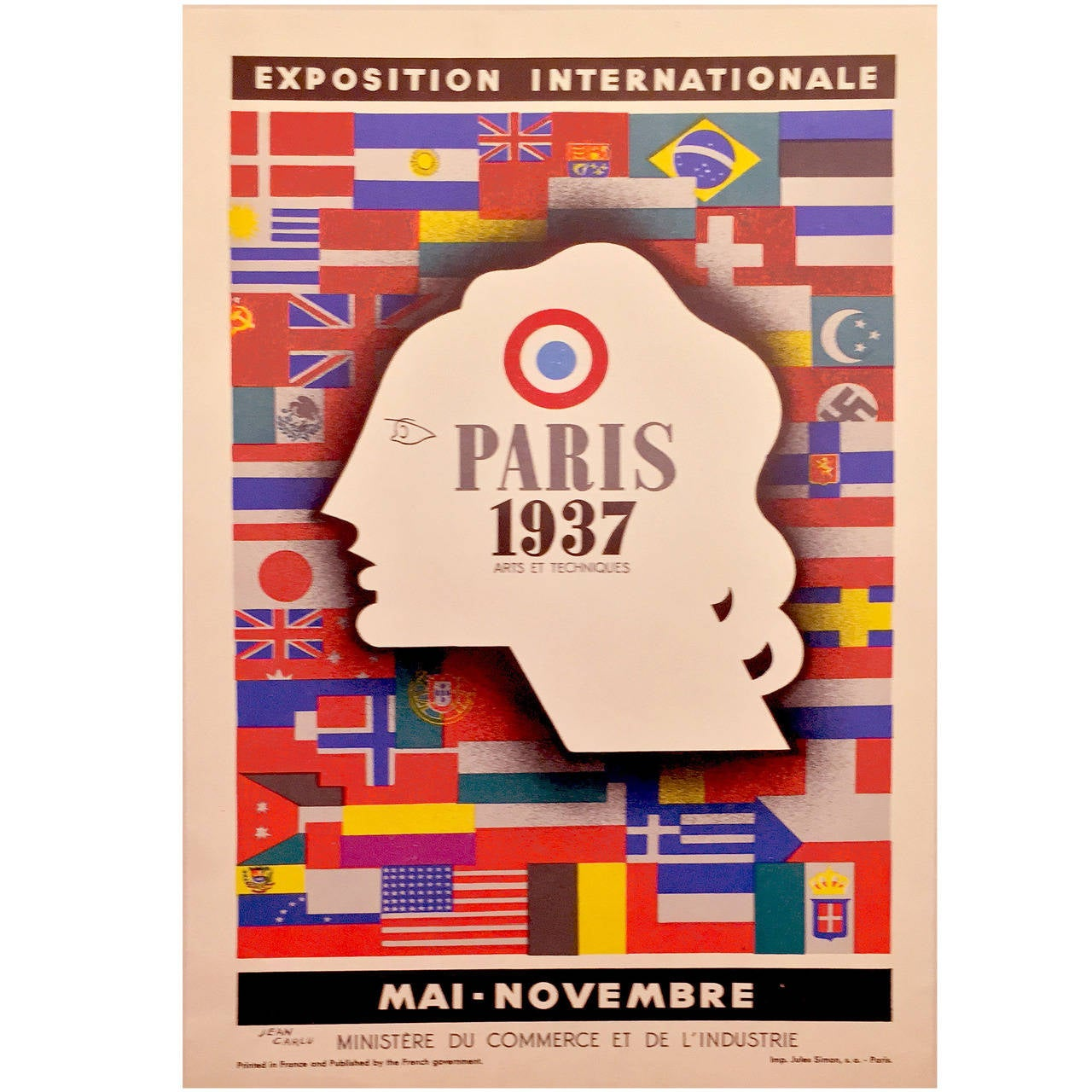 Art Deco Period International Exposition in Paris 1937 Poster by Jean Carlu