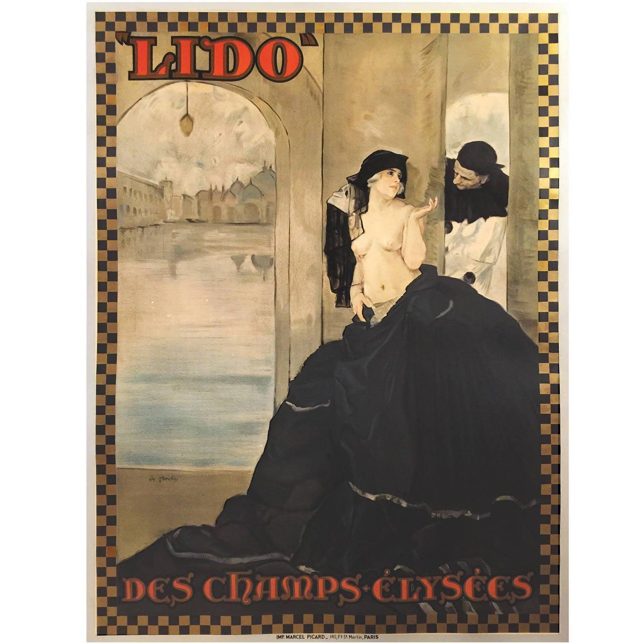 French Art Nouveau Period Poster Le Lido Des Champs-ElyseéS by Carlo Cherubini