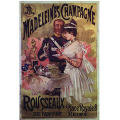 Rare French Belle Epoque Period Poster for Madeleines Champagne, 1890s