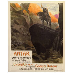 French Art Nouveau Period Poster for Antar Opera, 1912