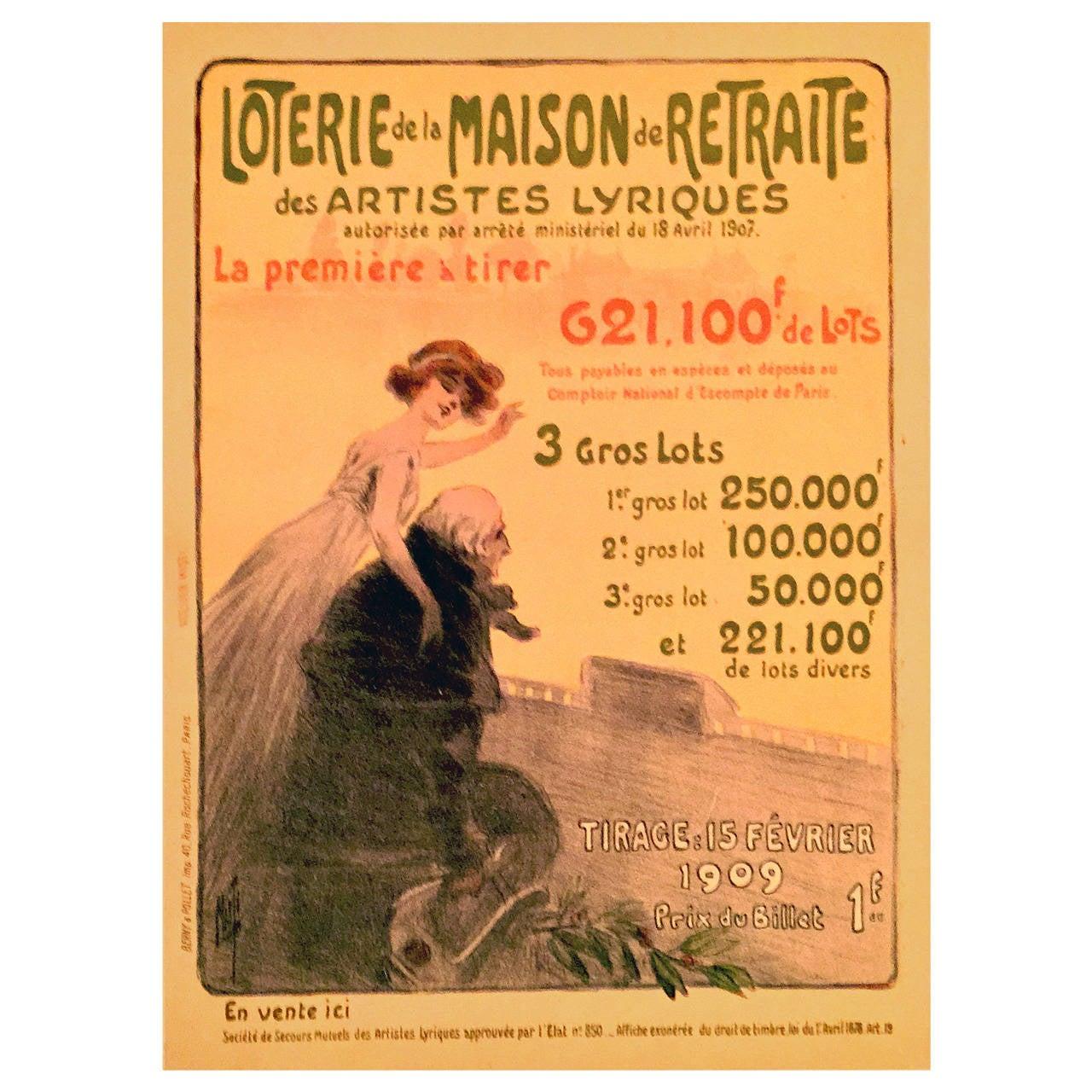 French Art Nouveau Period Poster for the Loterie de la Maison de Retrai, 1909