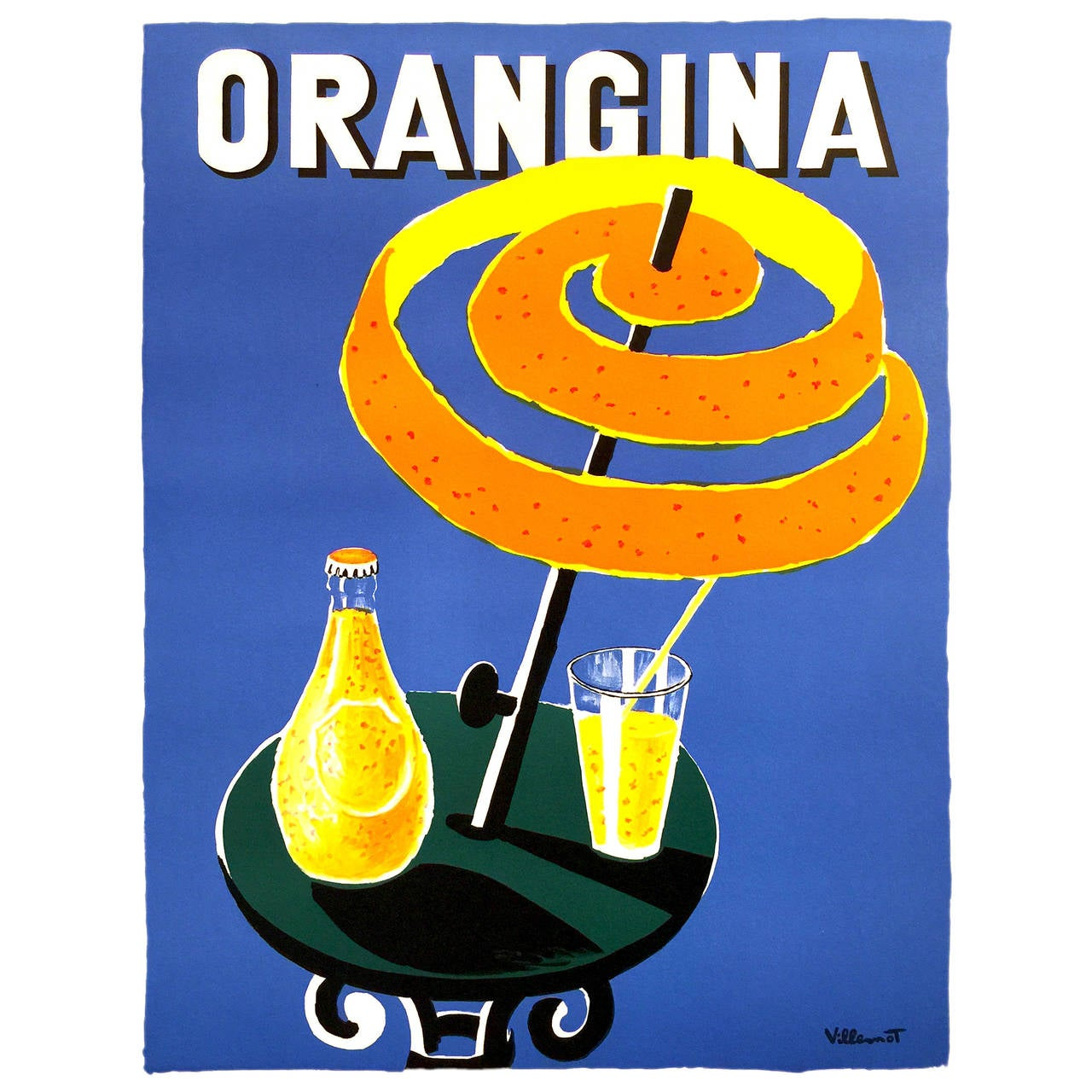 mid century modern period french poster for orangina for. Black Bedroom Furniture Sets. Home Design Ideas
