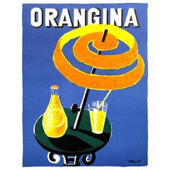 Mid-Century Modern Period French Poster for Orangina
