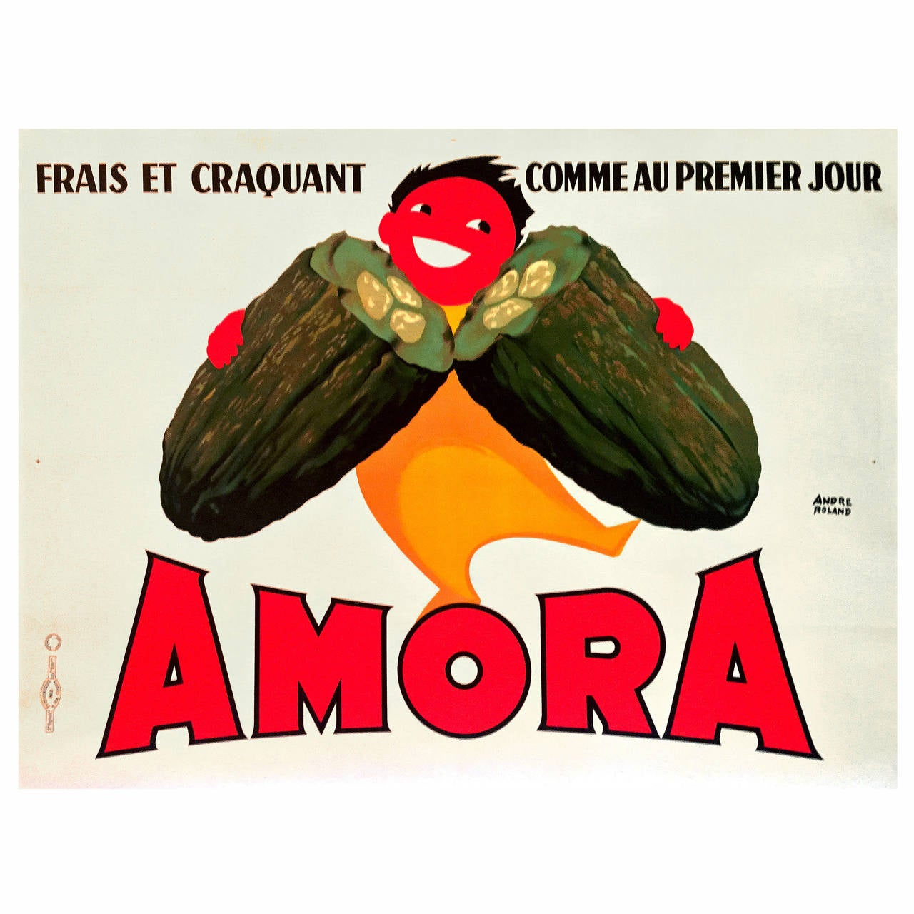Mid-Century Modern Period French Advertising Poster for Amora Mustard