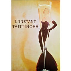 Modern French Poster for Champagne with Catherine Deneuve, Second Edition