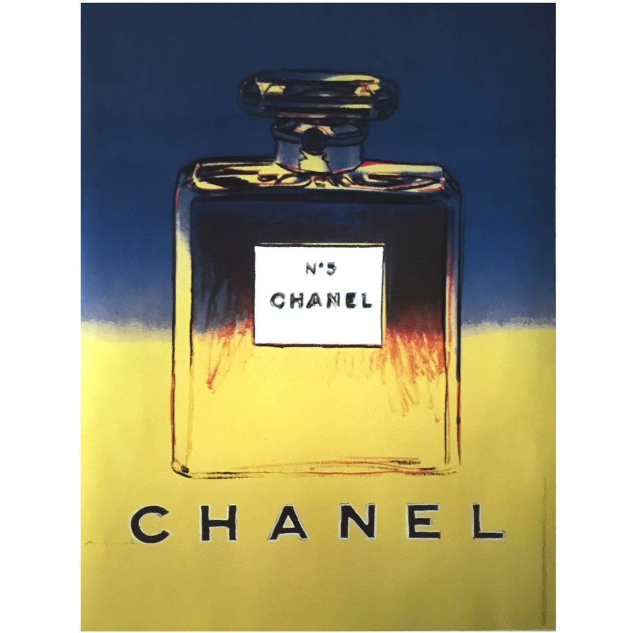 andy warhol for chanel no 5 large size french poster in blue and yellow for sale at 1stdibs. Black Bedroom Furniture Sets. Home Design Ideas