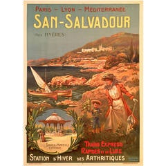 Art Nouveau Period French Travel Poster for San Salvador by Lessieux