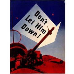 """""""Don't Let Him Down!"""" American Government Poster by Lester Beall, 1941"""