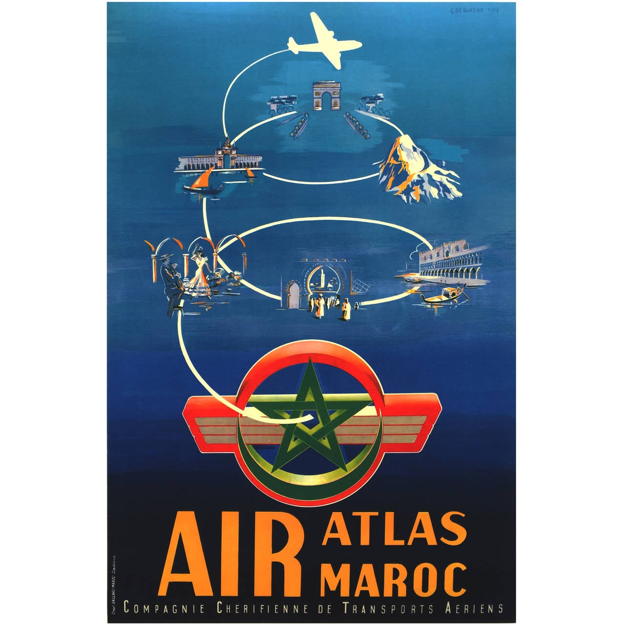 mid century modern period travel poster for air maroc 1954 for sale at 1stdibs. Black Bedroom Furniture Sets. Home Design Ideas