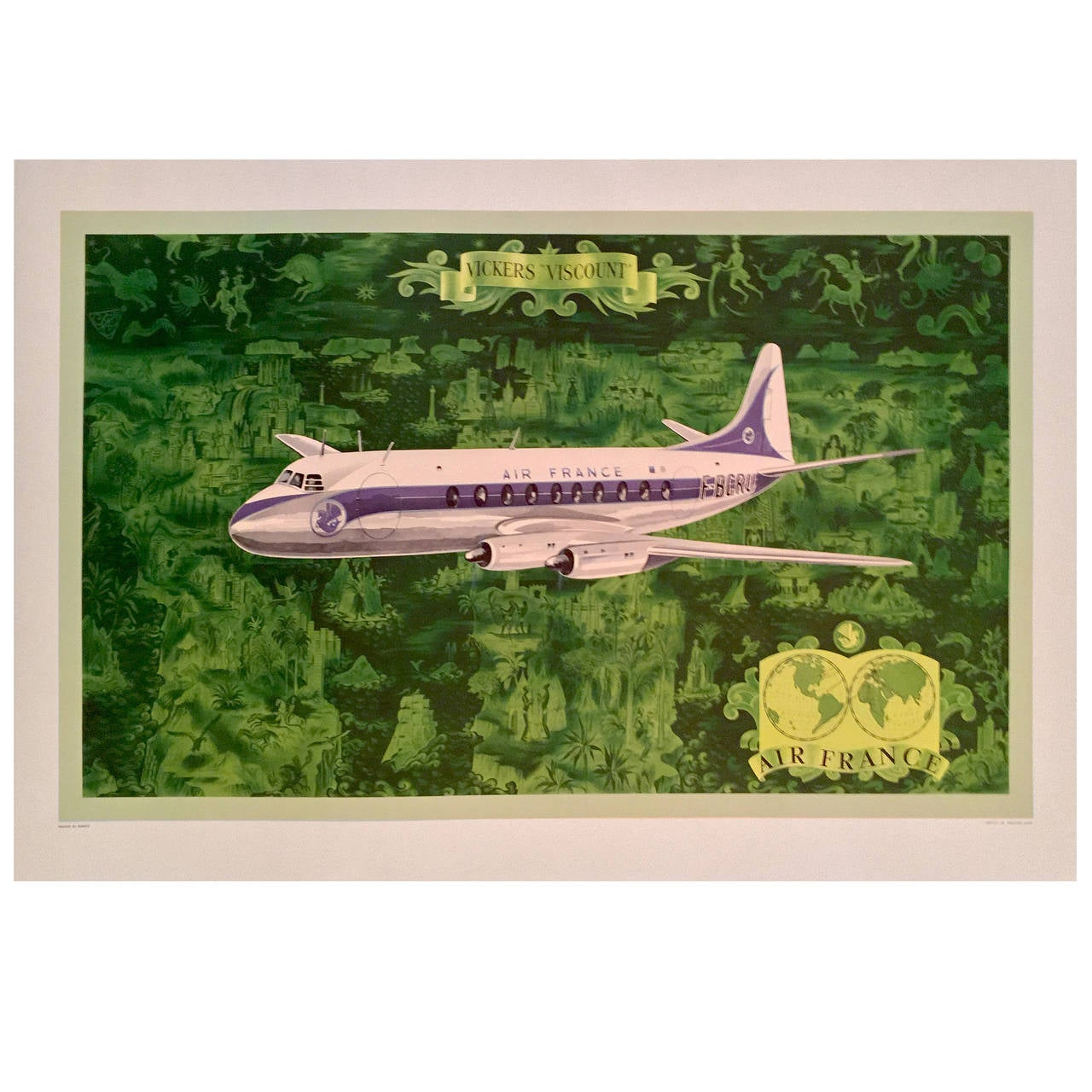 Mid century modern period air france travel poster for Mid modern period