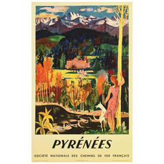 Mid-Century Modern Period French Travel Poster for SNCF to the Pyrenees