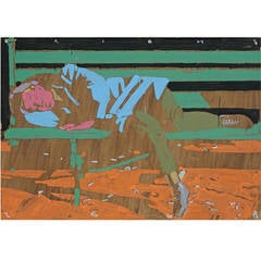 """Mykola Bilous 2008, """"Man Resting"""" Oil on Canvas"""