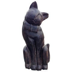 Siam, a Monumental Wooden Sitting Feline Cat Sculpture
