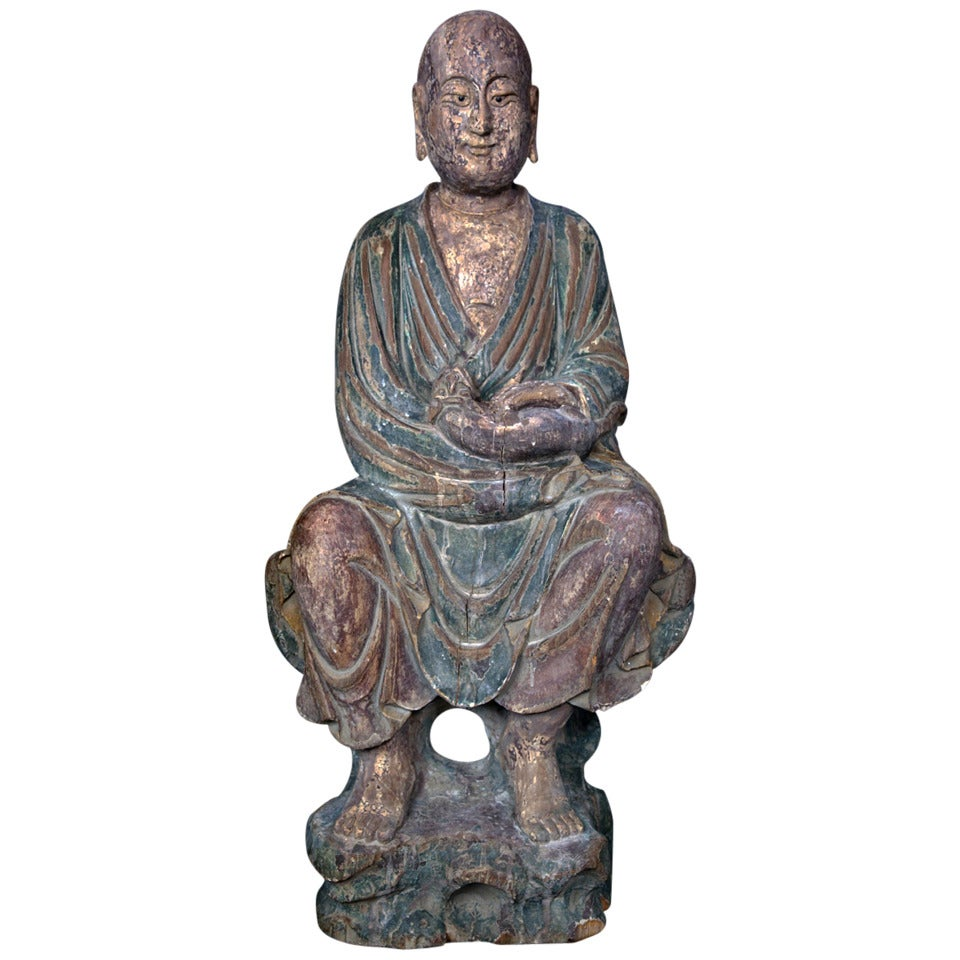 China Important Ancient Hand-Carved Lohan Monk Buddha with Canine Ming 1368-1644