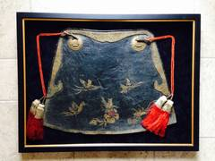 Japan, a framed leather Samurai horse parade saddle cover aori, 19th century