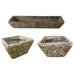 Set Three Antique American Stone Planters Handmade with Inlaid Stones