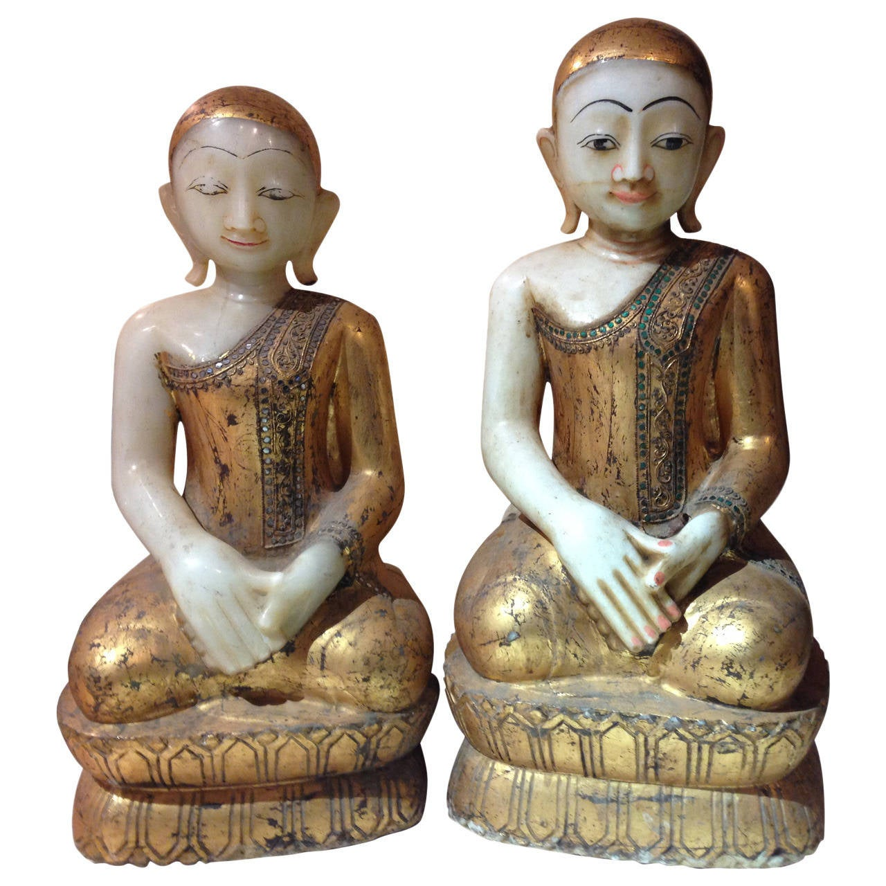Antique Pair Hand Carved Hand Gilt Stone Garden Attendants Joyful Faces For  Sale