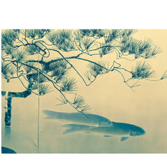 Japan, Antique Pair of Two-Panel Screens Byobu Depicting Koi