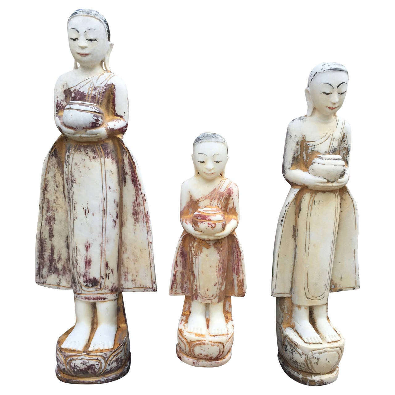 Three Offering Attendants from Old Mandalay Burma Early 20th Century